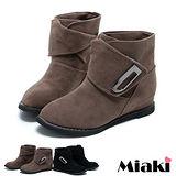(現貨+預購)【Miaki】韓風嚴選圓頭平底短靴休閒鞋(內增高) (卡其/黑色)
