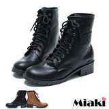(現貨+預購)【Miaki】MIT 街頭經典圓頭低跟馬汀靴短靴休閒鞋 (梨色/黑色)