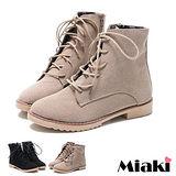 (現貨+預購)【Miaki】韓風嚴選麂皮造型低跟馬汀靴短靴休閒鞋 (淺灰/黑色)