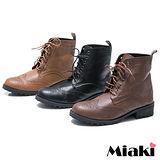 (現貨+預購)【Miaki】MIT 軍裝嚴選個性低跟馬汀靴短靴休閒靴 (咖啡/棕色/黑色)