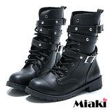 (現貨+預購)【Miaki】MIT 韓式軍裝雙環高筒馬汀靴短靴軍靴 (黑色)