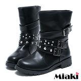 (現貨+預購)【Miaki】時尚率性環扣低跟短靴馬汀靴軍靴 (黑色)