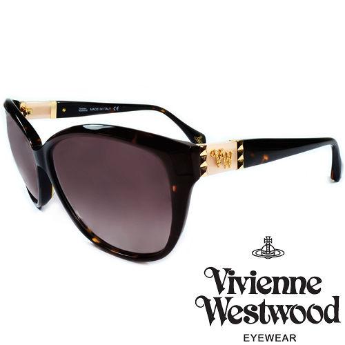 Vivienne Westwood 英國薇薇安魏斯伍德龐克鉚釘LOGO太陽眼鏡^(琥珀 粉