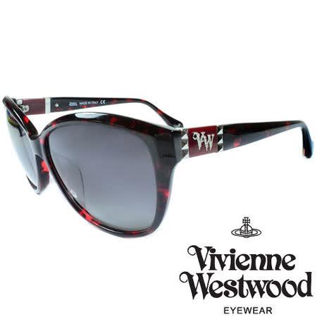 Vivienne Westwood 英國薇薇安魏斯伍德龐克鉚釘LOGO太陽眼鏡(琥珀+紅) VW85804