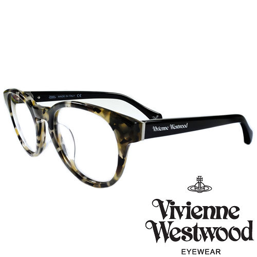 Vivienne Westwood 英國薇薇安魏斯伍德 LOGO復古圓框光學眼鏡^(白琥珀
