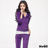 【KVOLL大尺碼】紫色天鵝絨衛衣休閒運動套裝