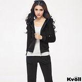 【KVOLL大尺碼】黑色天鵝絨衛衣休閒運動套裝
