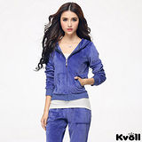 【KVOLL大尺碼】藍色天鵝絨衛衣休閒運動套裝