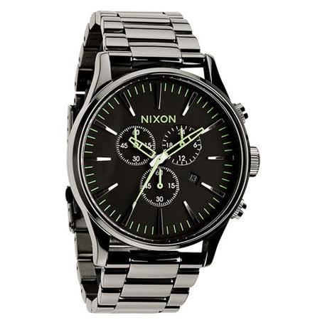 NIXON The SENTRY CHRONO 藍調搖滾潮流運動腕錶-亮黑
