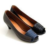 【GP bird 波兒德】極簡時尚牛皮壓紋魚口低跟鞋-黑色、藍色
