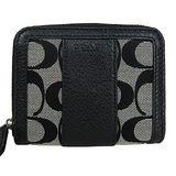 COACH PARK 直紋皮革織布拉鍊短夾(黑灰)