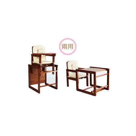 【美國 L.A. Baby】實木兩用兒童餐桌椅(附餐椅座墊)三色