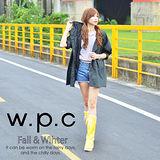 【w.p.c】寬版七分袖。時尚雨衣/風衣(R1017)_黑色