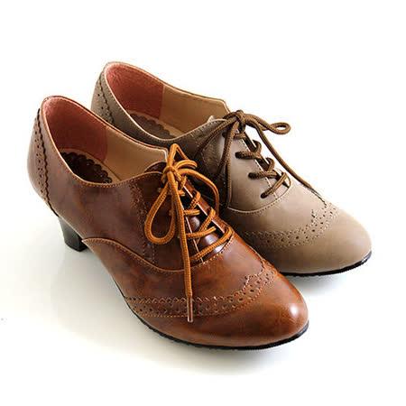 【Pretty】經典復古雕花皮革牛津跟鞋-棕色、咖啡色