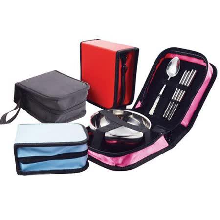 【PS Mall】旅行必備單人不鏽鋼碗筷勺包便攜餐具_2組 (J588)