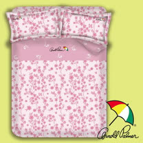 【Arnold Palmer雨傘】粉嫩花蹤-床包被套雙人加大四件組