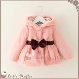 韓 優雅珠寶扣蝴蝶結軟綿綿連帽外套/大衣 超保暖 粉色 WMI141