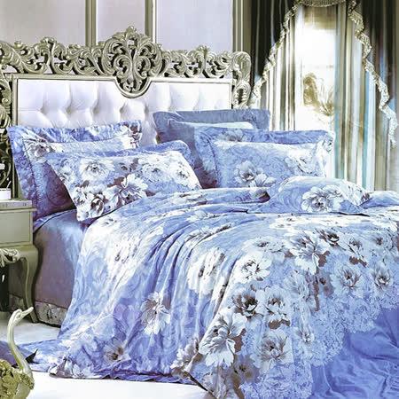 【Betrise清新花影】頂級100%雙人60支長絨棉四件式兩用被床包組