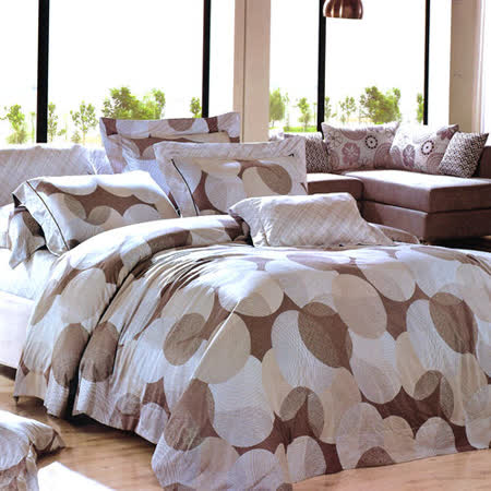 【Betrise圓點風尚】頂級100%雙人60支長絨棉四件式兩用被床包組