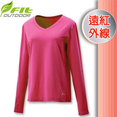 【維特 FIT】女新款 遠紅外線V領保暖內衣_FW2502 紫紅色