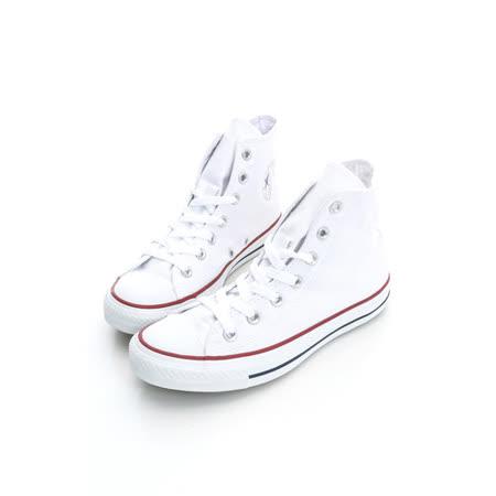 【CONVERSE】(男/女)經典膠底高筒帆布鞋-白M7650C