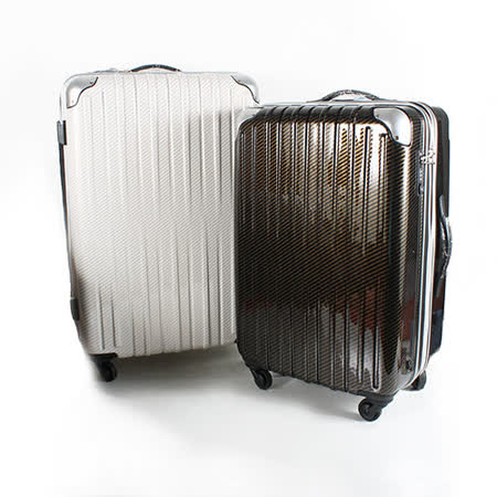 MOM JAPAN 日本品牌 24吋 碳纖紋路系列 可加大拉鏈煞車輪科技旅行箱 雙色 MF5409-24-WT