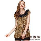【麥雪爾】雙口袋豹紋造形修身洋裝