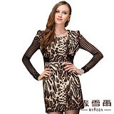 【麥雪爾】公主袖造型豹紋修身洋裝