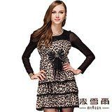 【麥雪爾】腰間蝴蝶結造型豹紋洋裝