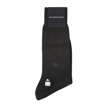 BURBERRY 經典戰馬刺繡中直紋紳士襪-深灰色