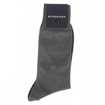 BURBERRY 經典戰馬刺繡中直紋紳士襪-灰色