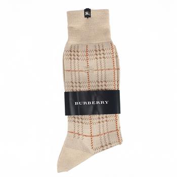 BURBERRY 經典格紋純綿長筒彈性紳士襪-卡其色