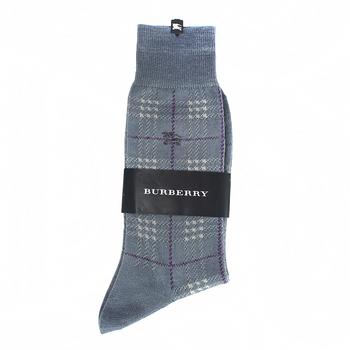BURBERRY 經典格紋純綿長筒彈性紳士襪-灰藍色