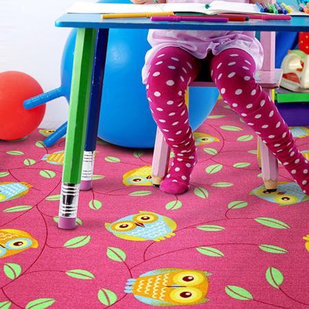 【范登伯格】森林天堂俏皮貓頭鷹桃紅比利時進口童話地毯-150x200