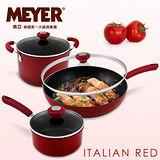 【MEYER】美國美亞ltalian Red不沾六件組(炒鍋+雙湯鍋套組)-米蘭紅
