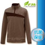 【維特 FIT】男新款 條紋竹炭抗菌內刷保暖上衣_FW1102 摩卡色