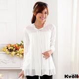 【KVOLL大尺碼】白色寬鬆針織雪紡長上衣