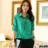 【KVOLL大尺碼】綠色OL寬鬆顯瘦雪紡衫