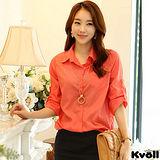 【KVOLL大尺碼】橘色OL寬鬆顯瘦雪紡衫