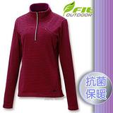 【維特 FIT】女新款 條紋竹炭抗菌內刷保暖上衣_FW2102 杜鵑紅