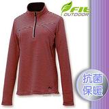 【維特 FIT】女新款 條紋竹炭抗菌內刷保暖上衣_FW2102 粉桔色