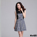 【KVOLL大尺碼】寶藍色圓領橫條拼接修身背心裙