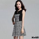 【KVOLL大尺碼】深藍色圓領橫條拼接修身背心裙