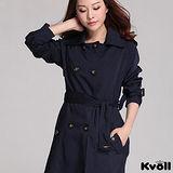 【KVOLL大尺碼】藍色修身大蝴蝶結風衣外套