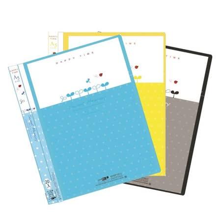 【檔案家】晶鑽A5附封面資料簿20入-黃/藍/黑