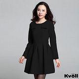 【KVOLL大尺碼】黑色復古收腰顯瘦連衣裙