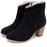 【Moscova】秋推新品 粗跟磨砂皮中跟側拉鏈短靴-黑色