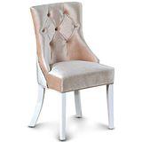 日式量販 法式宮廷風水鑽菱格絨布休閒椅