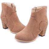 【Moscova】秋推新品 粗跟磨砂皮中跟側拉鏈短靴-卡其色
