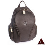 【H-CT】深咖啡色多夾層設計款真皮後背包(0319-Z)